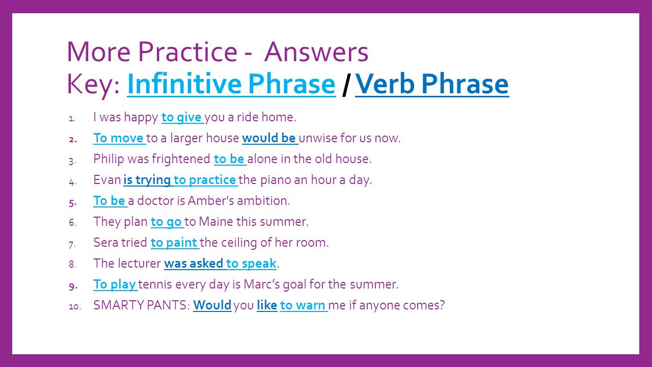 hight resolution of PHRASES: INFINITIVES AND PREPOSITIONAL Lesson #1. - ppt download