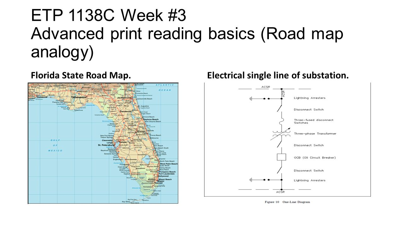 hight resolution of 3 etp 1138c week 3 advanced print reading basics road map analogy florida state road map electrical single line of substation