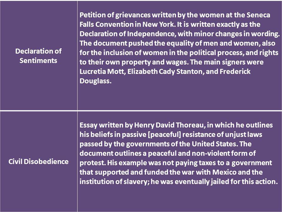 Ch. 16 Review Declaration of Sentiments Petition of grievances ...