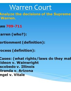 warren court swbat analyze the decisions also of supreme led rh slideplayer