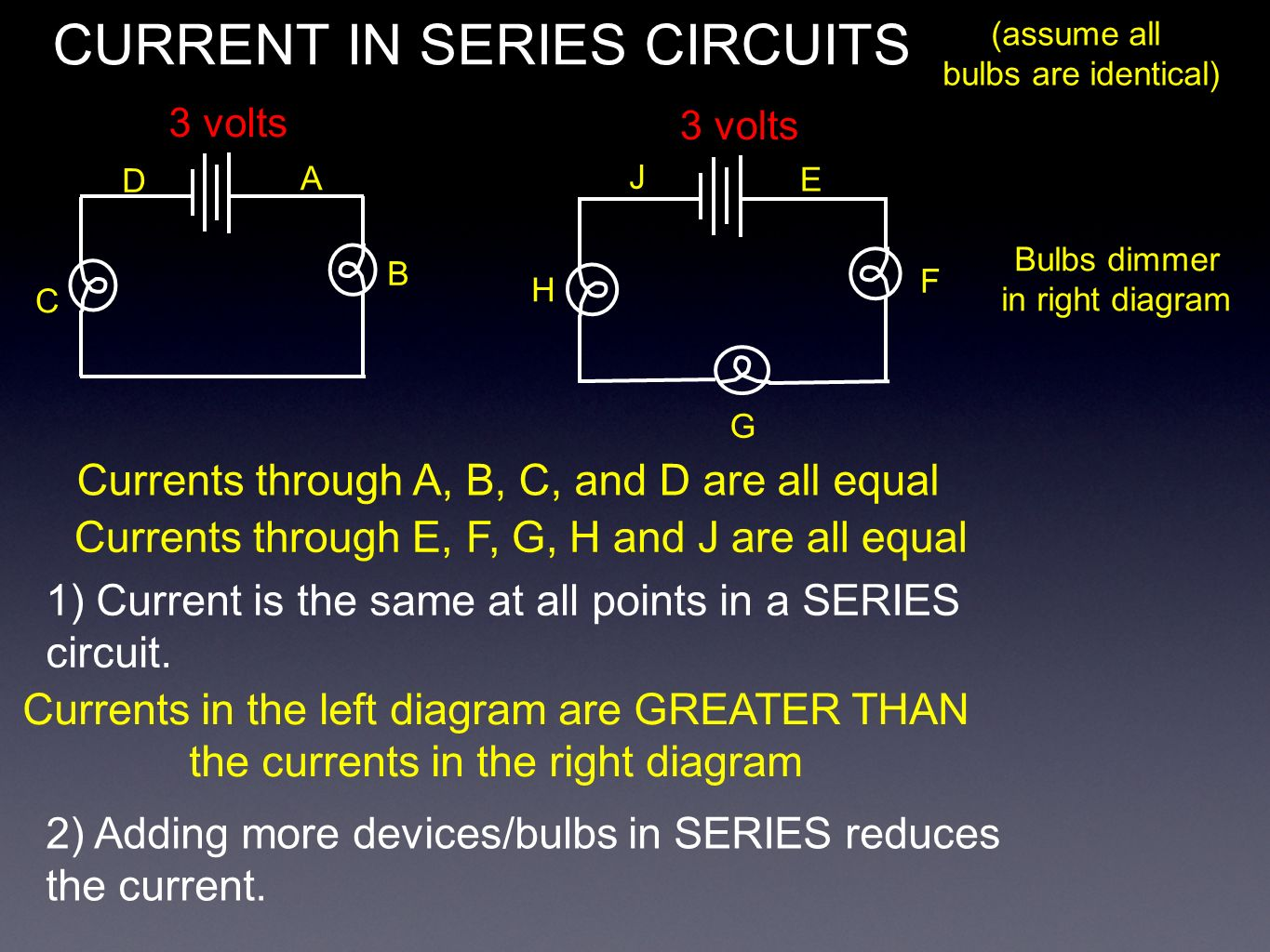 hight resolution of 4 current in series circuits 3 volts assume all bulbs are identical a b c d currents through a b c and d are all equal currents through e f g