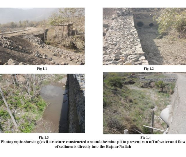 Photographs Showing Civil Structure Constructed Around The Mine Pit To Prevent Run Off Of Water And Flow Of Sediments Directly Into The Bajnar Nallah