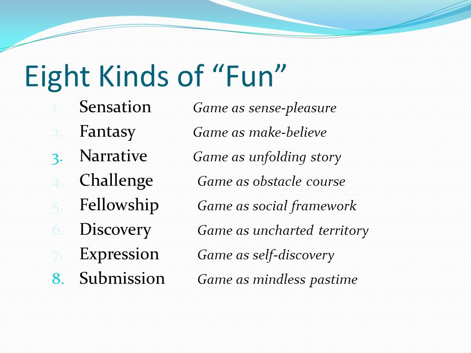 Image result for 8 categories of fun marc leblanc