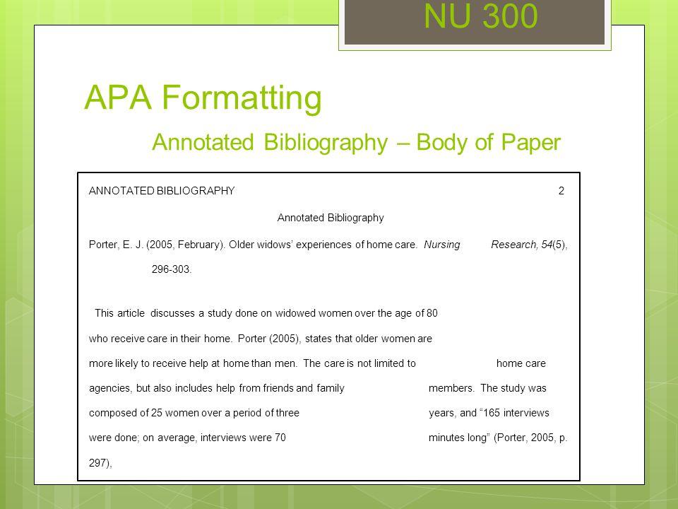 NU 300 Unit 3 Seminar APA Formatting NU 300 APA Formatting Title