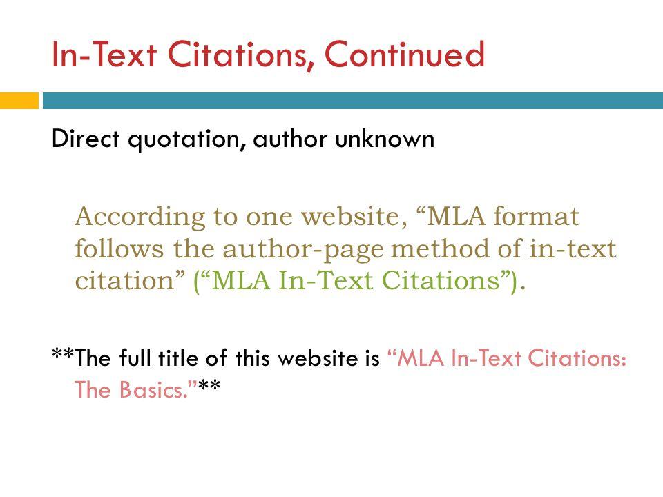 mla format online citation