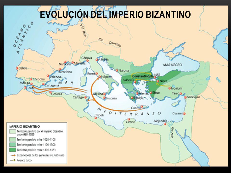 Mapa de la evolución del Imperio Bizantino