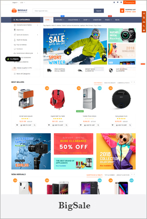 BigSale - The Clean, Minimal & Unlimited Bootstrap 4 Shopify Theme (12+ HomePages)