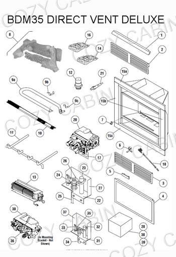 Gas Fireplace Parts Diagram : fireplace, parts, diagram, Fireplace, Natural, (BDM35), Cabin, Lennox, Hearth, Parts, Store
