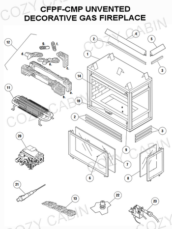 Gas Fireplace Parts Diagram : fireplace, parts, diagram, Unvented, Decorative, Fireplace, (CFPF-CMP), Cabin, Lennox, Hearth, Parts, Store