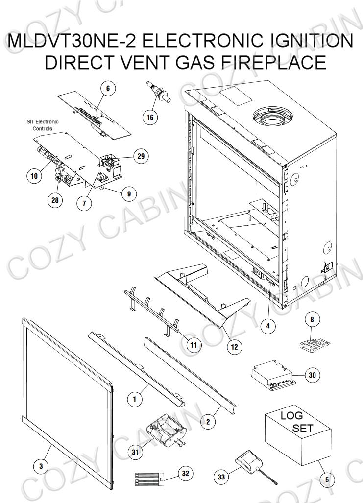 Direct Vent Gas Fireplace Electronic Ignition (MLDVT-30NE