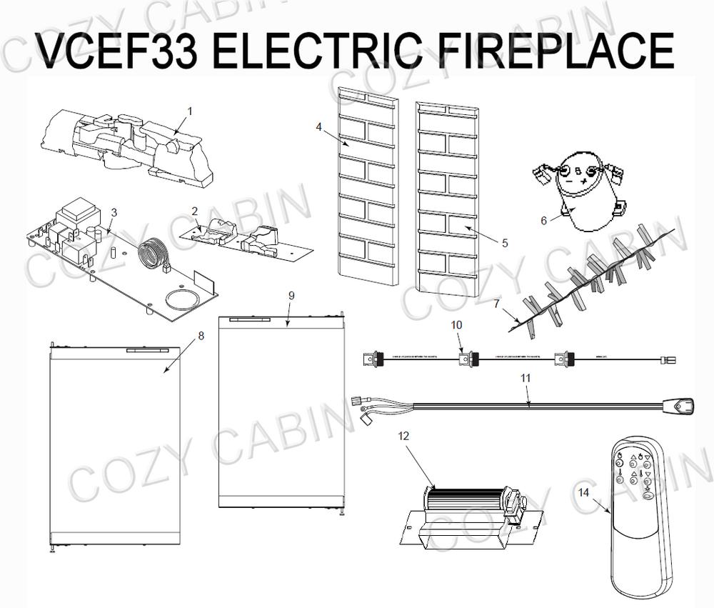 Electric Fireplace (VCEF33) (VCEF33) The Cozy Cabin Stove