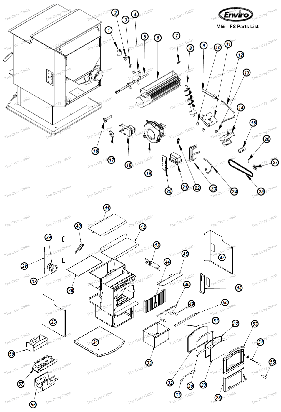 M55-FS (C-13845) Cozy Cabin Enviro Fire Parts Store