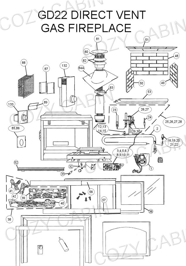 Direct Vent Gas Fireplace (GD22) (GD22) Napoleon Parts
