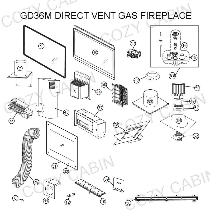 Direct Vent Gas Fireplace (GD36M) (GD36M) Napoleon Parts