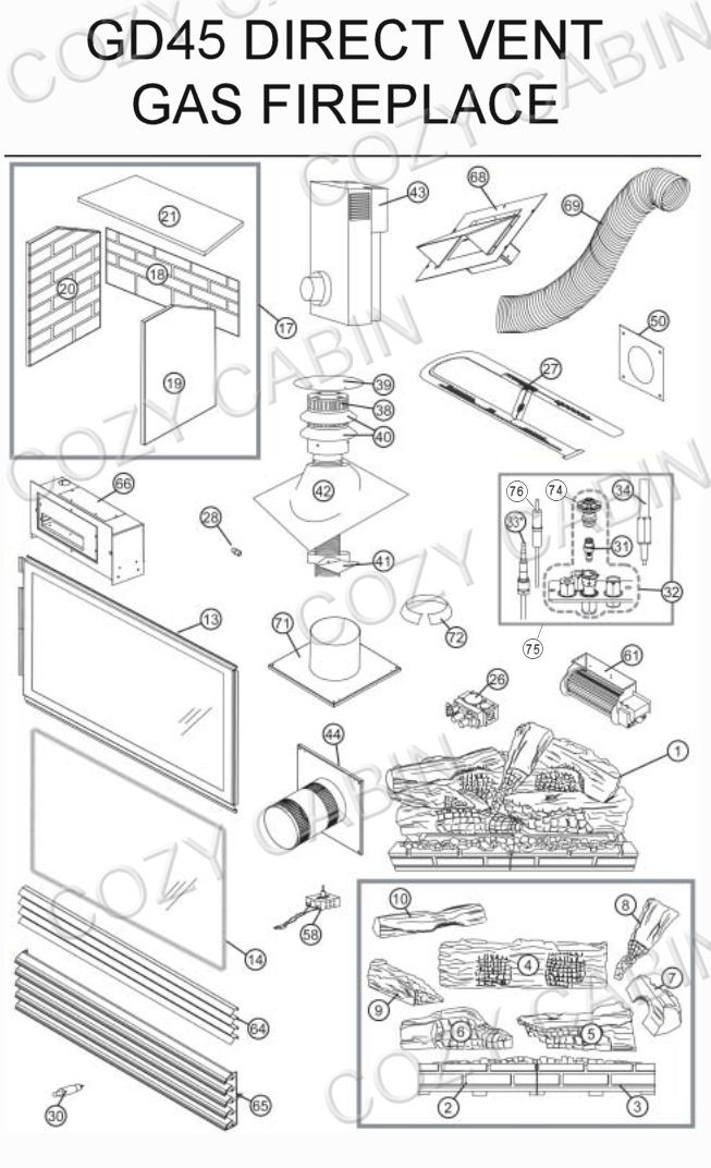 Gas Fireplace Parts Diagram : fireplace, parts, diagram, Napoleon, Parts