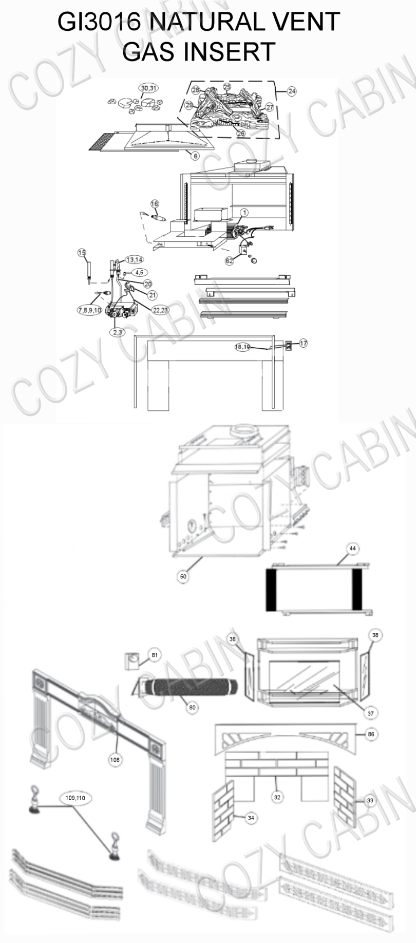 Gas Fireplace Insert (GI3016) (GI3016) Napoleon Parts