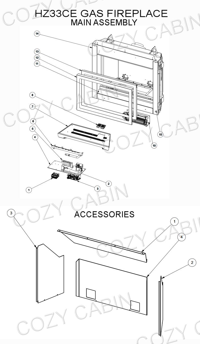Gas Fireplace Parts Diagram : fireplace, parts, diagram, Horizon, Fireplace, (HZ33CE), Cabin, Regency, Parts, Store