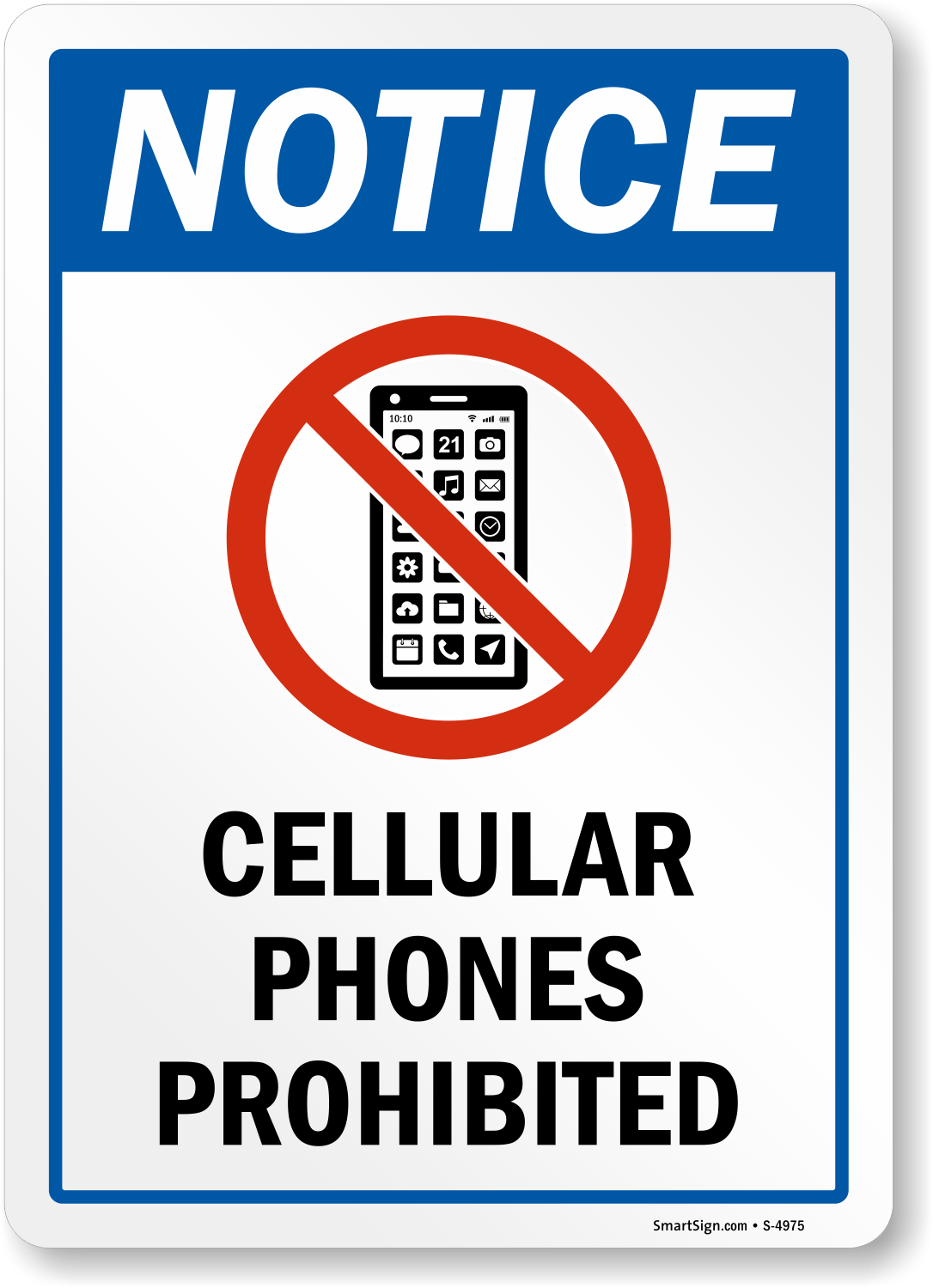polite no cell phone sign