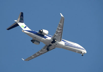 China's first fully homegrown commercial aircraft, the ARJ-21, during its test flight.