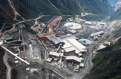 An aerial view of the mine run by Freeport-McMoran Cooper & Gold Inc, at the Grasberg mining operation, in Indonesia's Papua province.