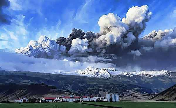 A plume of volcanic ash rises into the atmosphere at the Eyjafjallajokull glacier in southern Iceland.