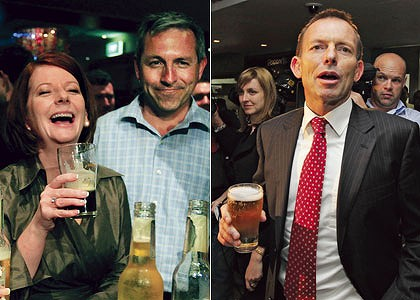 Last orders ... Julia Gillard enjoys a Tooheys Old with the local candidate, Jim Arneman, in Raymond Terrace; Tony Abbott sips a  shandy in Manly.