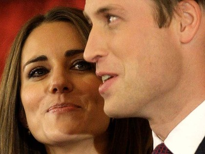 Very much in charge . . . Prince William and his fiances.