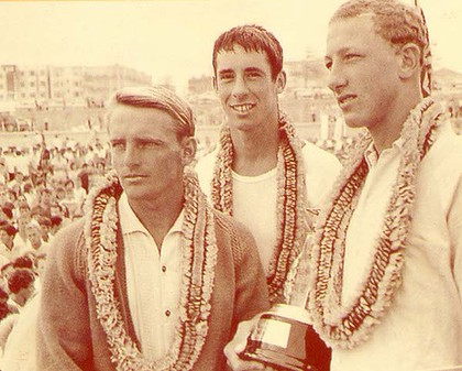 Keli's father Robert (middle) with fellow champion surfers Mick Dooley and Nat Young at Bondi Beach in 1963.