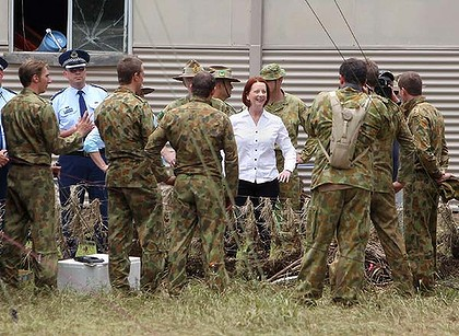 Prime Minister Julia Gillard meets with soldiers helping out in the flood recovery in Grantham.
