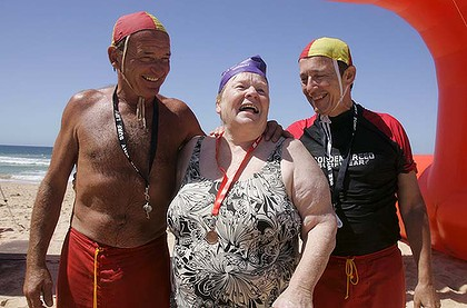 Lynette Usher, oldest competitor in Sun Herald Surf Swim 13 March 2011.