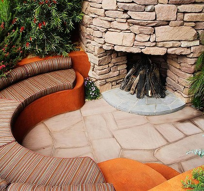 Outdoor fireplaces are a drawcard in the chilly months.