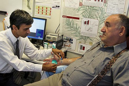 Promising news for diabetics ... Dr Arun Krishnan conducts nerve excitability testing on patient Salvatore Abela.
