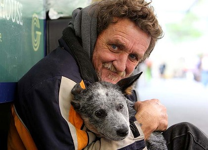 Homeless man, John, with his dog, Laya, in Pitt Street mall, Sydney.18th August 2011Photo: Janie Barrett