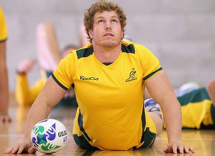 WELLINGTON, NEW ZEALAND - OCTOBER 04:  David Pocock of the Wallabies stretches during an Australia IRB Rugby World Cup 2011 training session at Te Rauparaha Arena on October 4, 2011 in Wellington, New Zealand.  (Photo by Cameron Spencer/Getty Images)