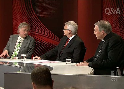 Q&A show featuring Cardinal George Pell and Richard Dawkins.