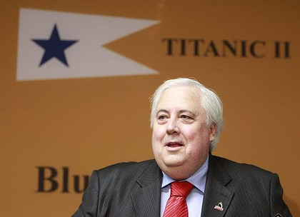 PALMER AFR PHOTOGRAPH BY GLENN HUNT 30042012.NEWS- Clive Palmer announcing at a press conference in Brisbane that he will be building Titanic II.