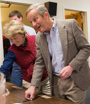 Campaign clanger ... Todd Akin votes in Wildwood, Missouri.