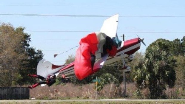 Point of contact: the  plane tangled with the parachutist at South Lakeland Airport.