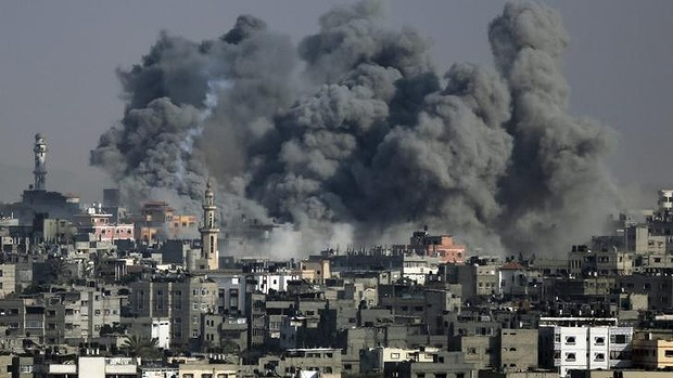 Smoke from an Israeli strike rises over Gaza City.