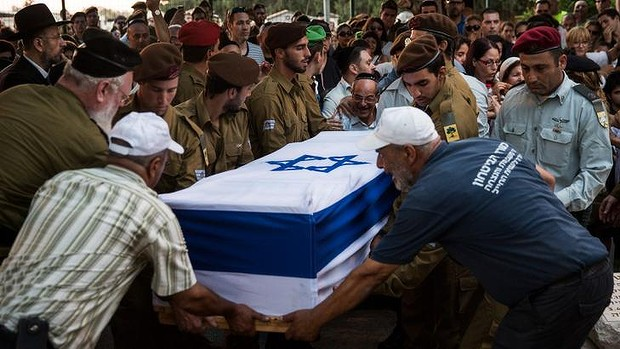 The funeral of Israeli soldier Jordan Bensimon in Ashkelon, Israel.