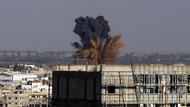Smoke billows from an Israeli air strike in Rafah, southern Gaza Strip.