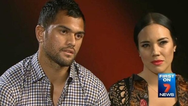 Disgraced footballer Karmichael Hunt with wife Emma Hunt on <i>Sunday Night</i>.