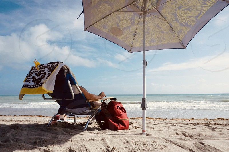 Water Coastline Beach Beaches Person Umbrella Ocean Leisure Relaxing Vacation Travel Outdoors Miami By May Neuman Photo Stock Snapwire
