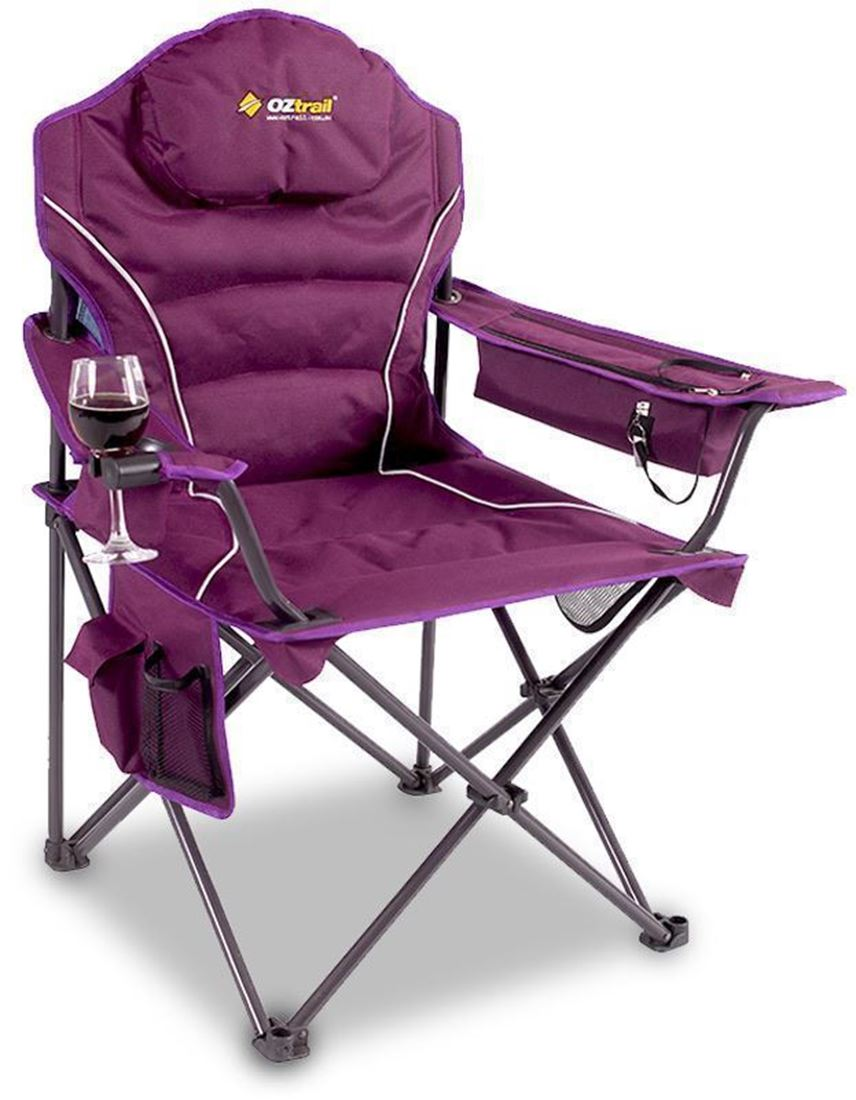 padded camping chair van captain chairs modena arm snowys outdoors oztrail purple high back