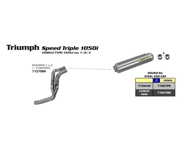 Arrow 1:2 Mid-Pipe for Speed Triple 1050 07-10