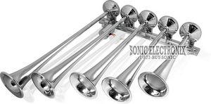 Omega AH-500 (ah500f) Chrome 5-Trumpet Train Air Horns (AH