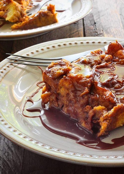 Pumpkin Bread Pudding with Nutella Glaze from SoupAddict.com