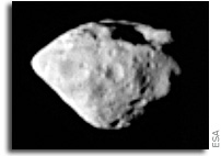 A partial image of the Steins asteroid.