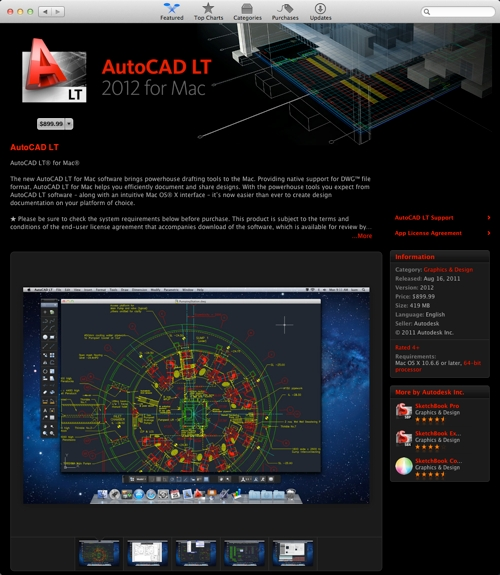 AutoCAD LT 2012 for Mac in the App Stor