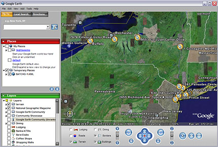 BatchGeocoder.com results in Google Earth